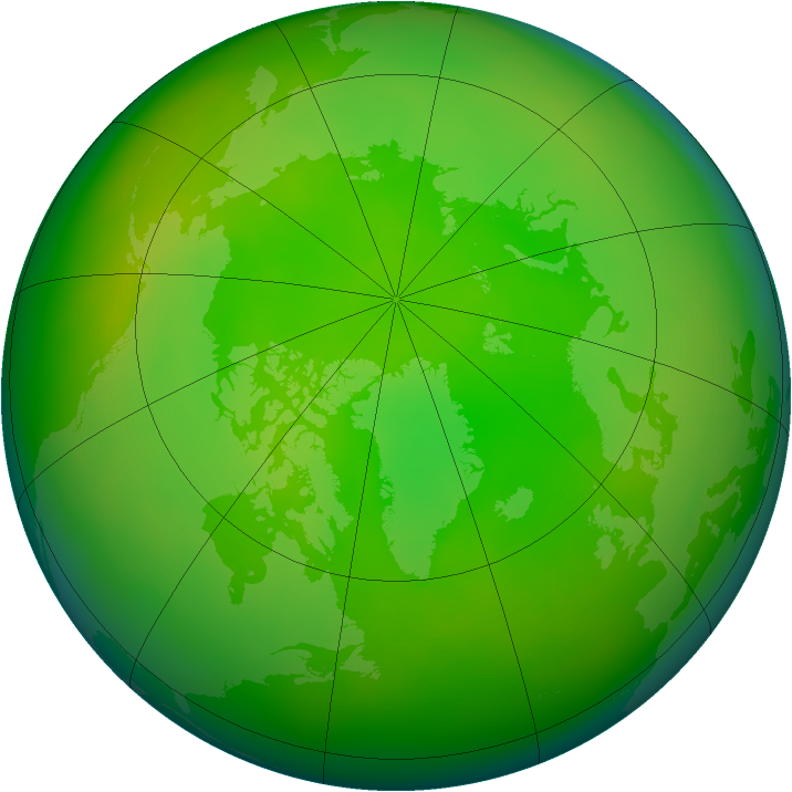 Arctic ozone map for June 2014