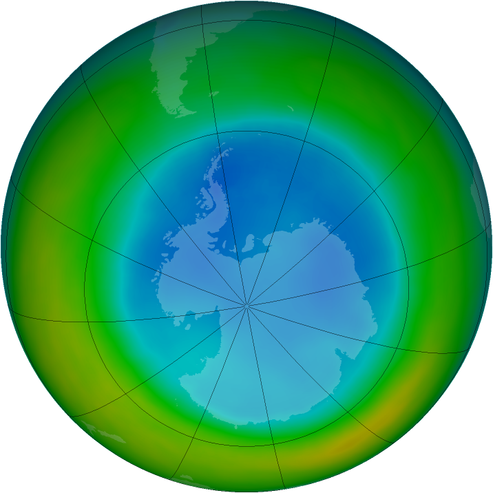 Antarctic ozone map for August 2014