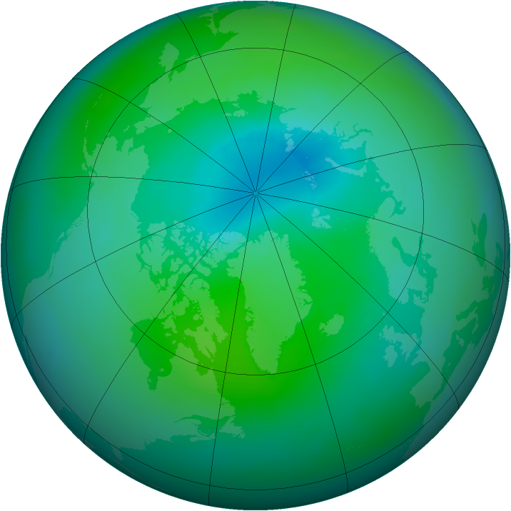 Arctic ozone map for September 2014
