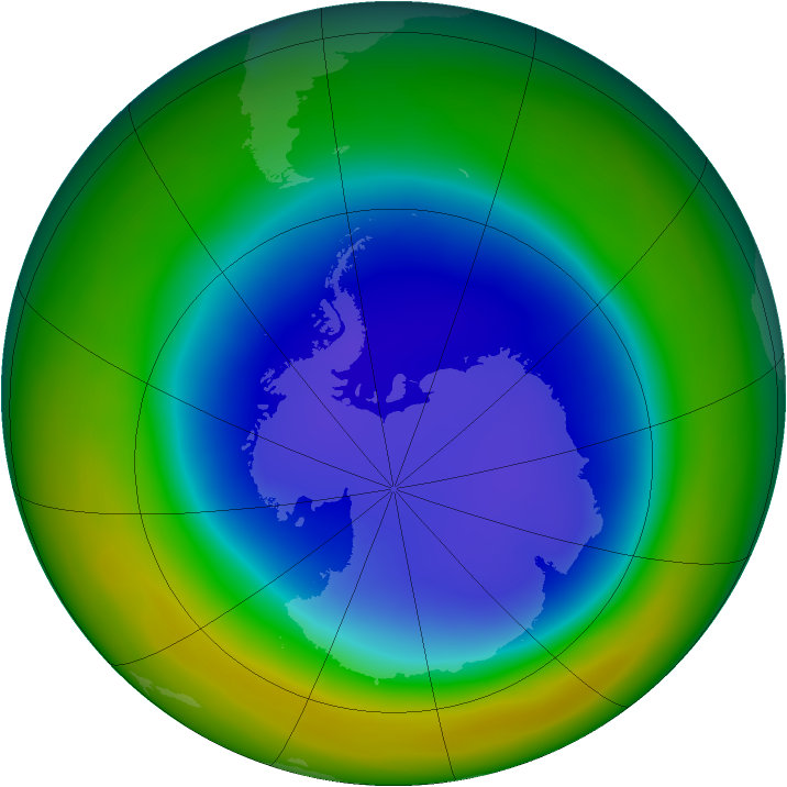 Antarctic ozone map for September 2014