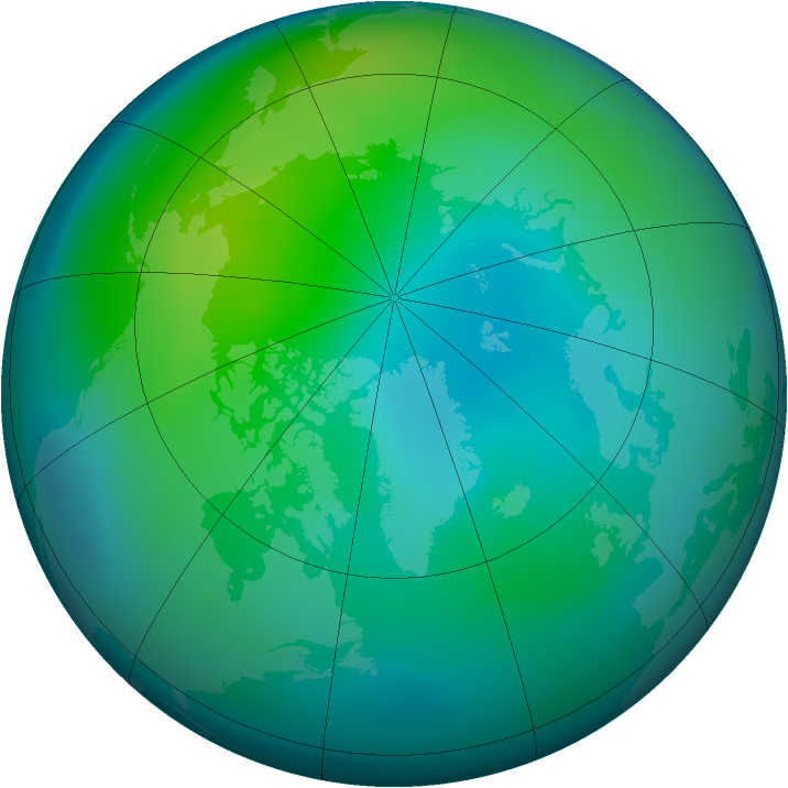 Arctic ozone map for October 2014
