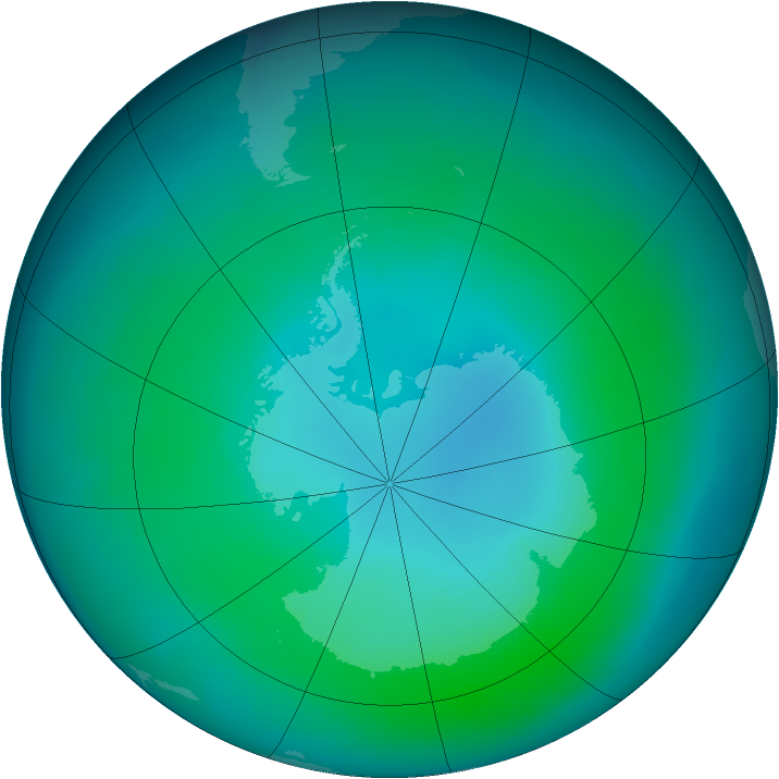 Antarctic ozone map for February 2015