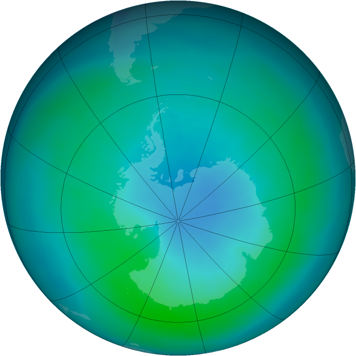 Antarctic ozone map for March 2015