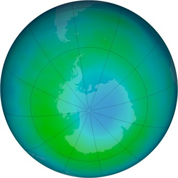 Antarctic ozone map for 2015-04