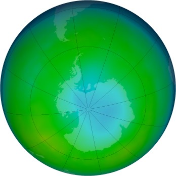 Antarctic ozone map for 2015-06