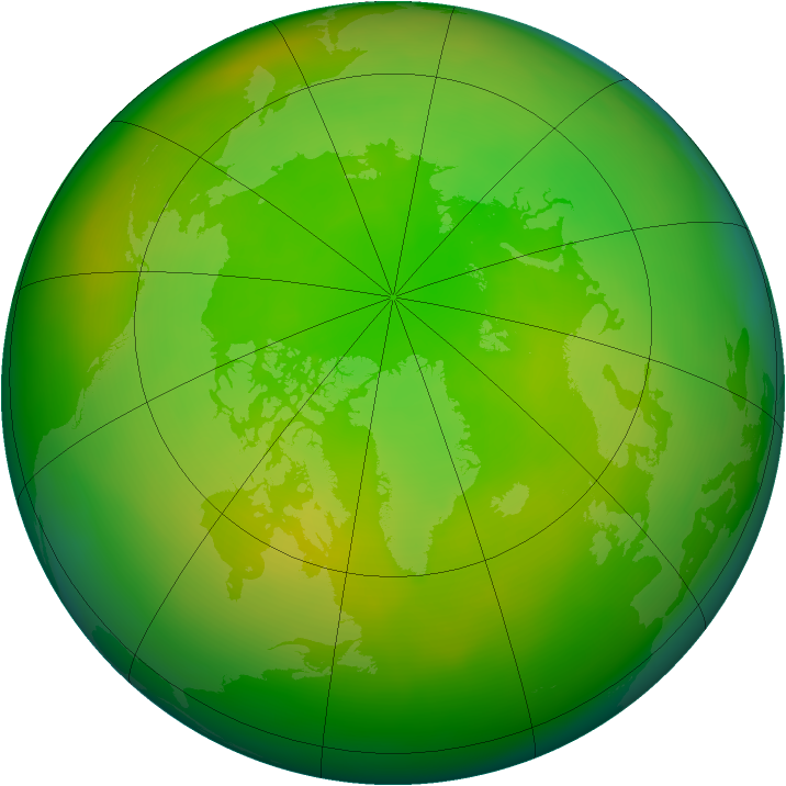 Arctic ozone map for June 2015