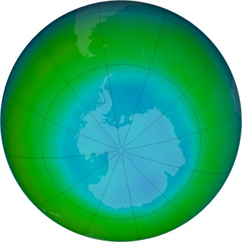 Antarctic ozone map for 2015-08
