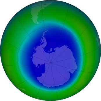Antarctic ozone map for 2015-09