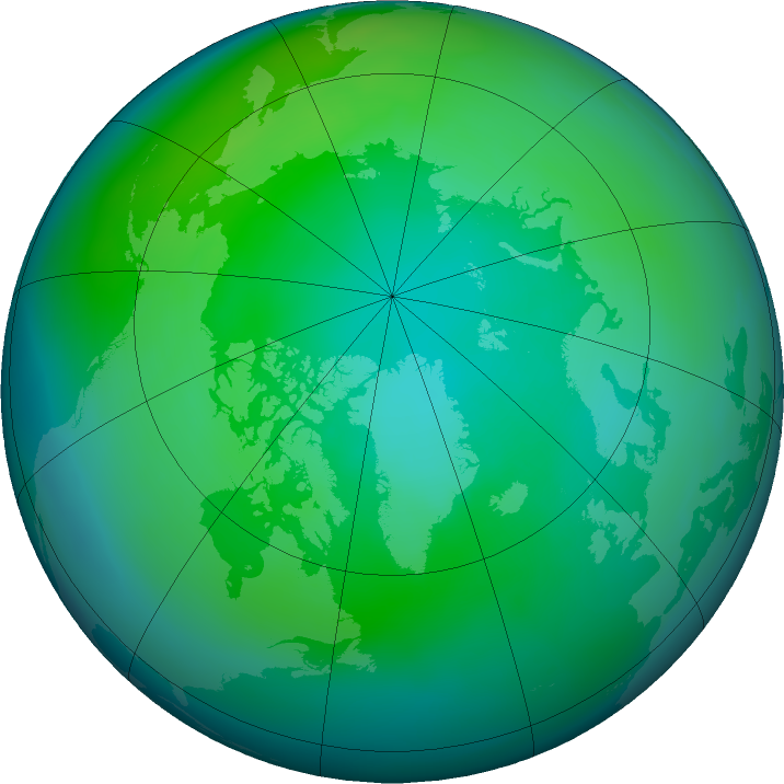 Arctic ozone map for October 2015