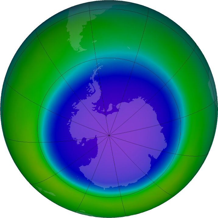 Antarctic ozone map for October 2015