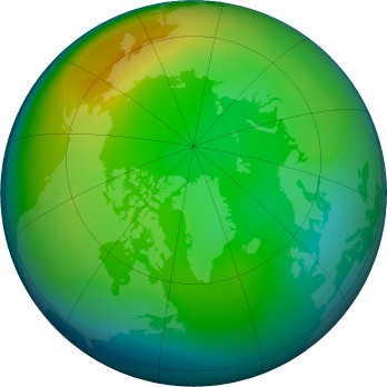 Arctic ozone map for 2015-12