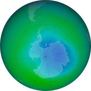 Antarctic ozone map for 2015-12