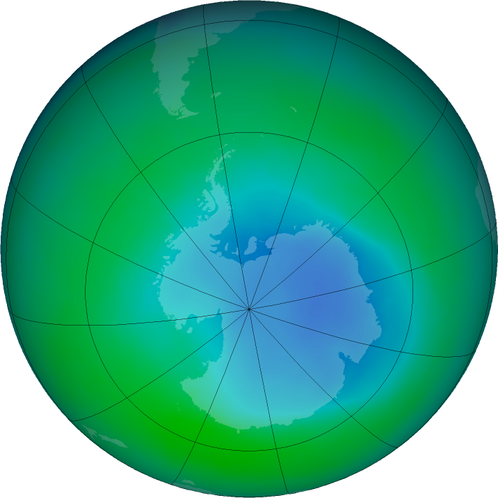 Antarctic ozone map for December 2015