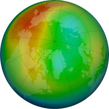 Arctic ozone map for 2016-01