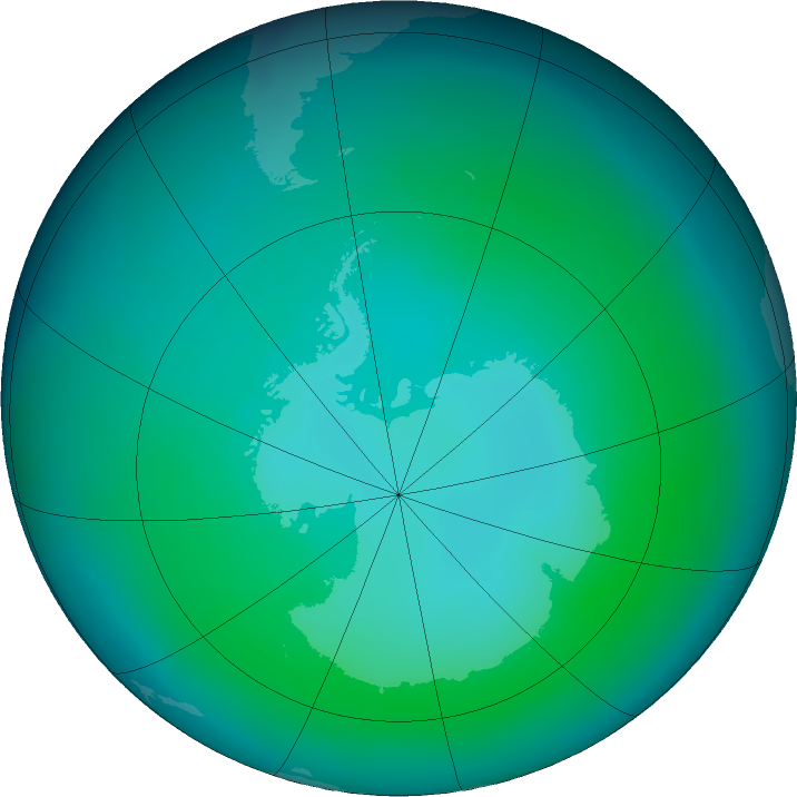 Antarctic ozone map for January 2016