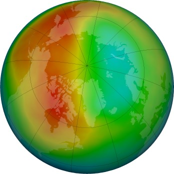 Arctic ozone map for 2016-02