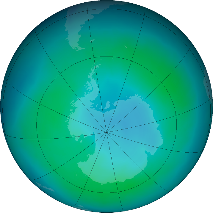Antarctic ozone map for February 2016