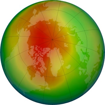 Arctic ozone map for 2016-03