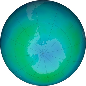 Antarctic ozone map for 2016-03