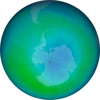 Antarctic ozone map for 2016-04