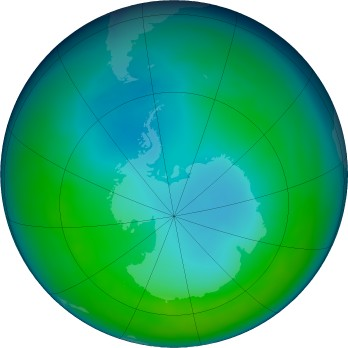 Antarctic ozone map for 2016-05
