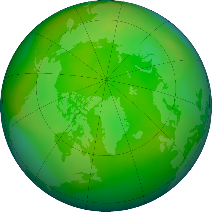 Arctic ozone map for June 2016