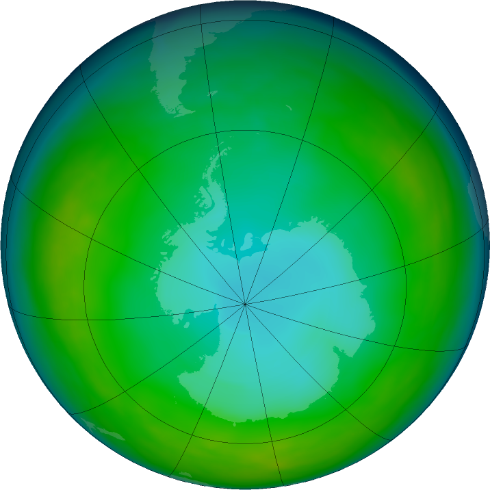 Antarctic ozone map for June 2016