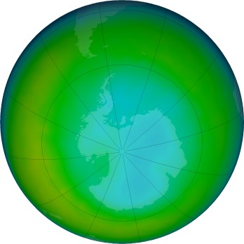 Antarctic ozone map for 2016-07