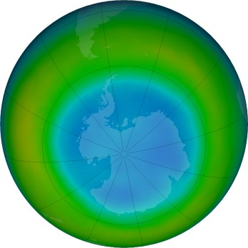 Antarctic ozone map for 2016-08