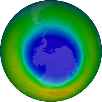 Antarctic ozone map for 2016-09