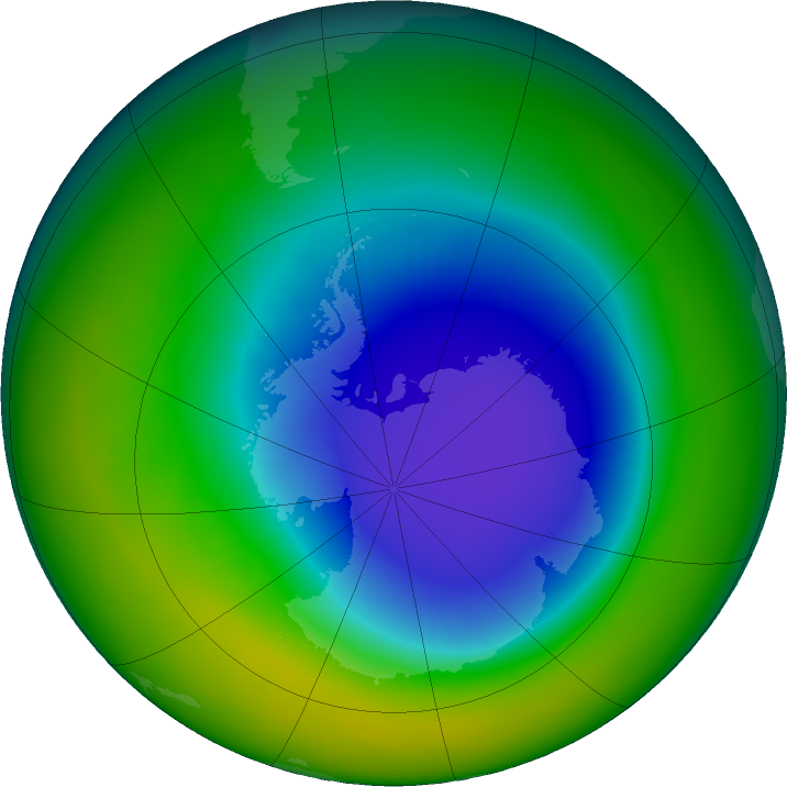 Antarctic ozone map for October 2016