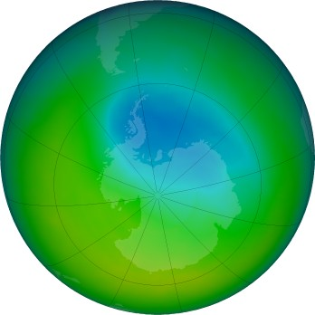 Antarctic ozone map for 2016-11