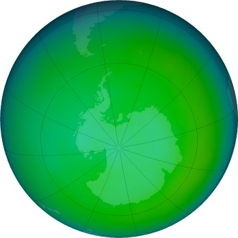 Antarctic ozone map for 2016-12