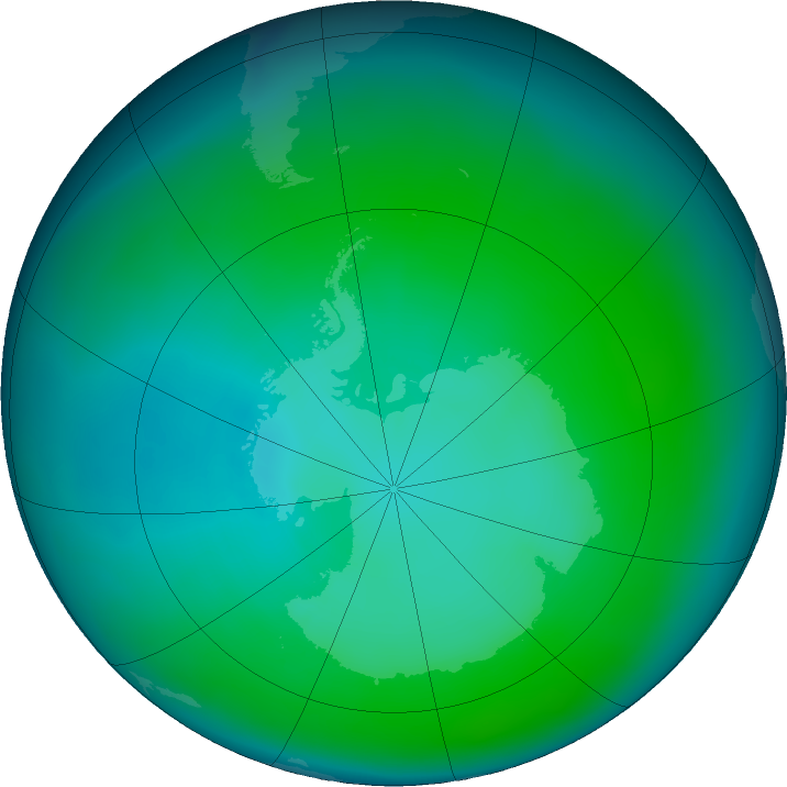Antarctic ozone map for January 2017