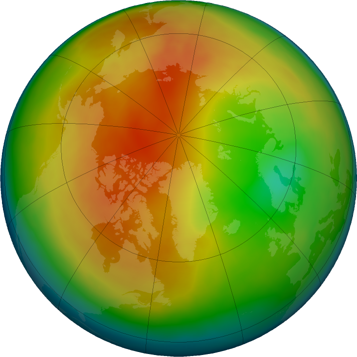 Arctic ozone map for February 2017