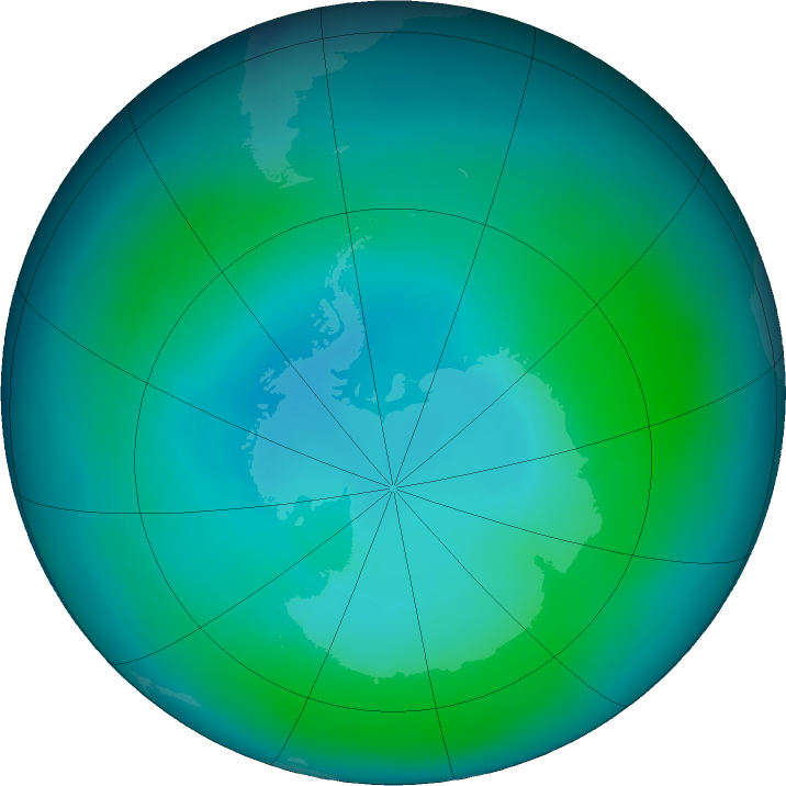 Antarctic ozone map for February 2017