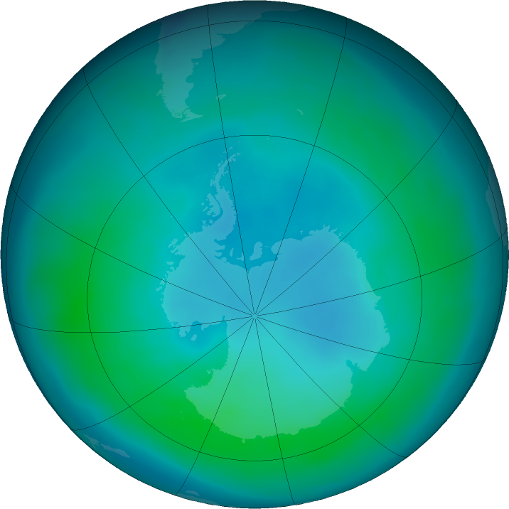 Antarctic ozone map for March 2017