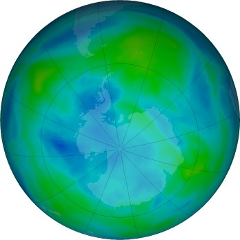 Antarctic ozone map for 2017-04
