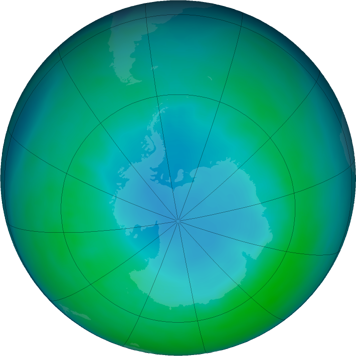 Antarctic ozone map for May 2017