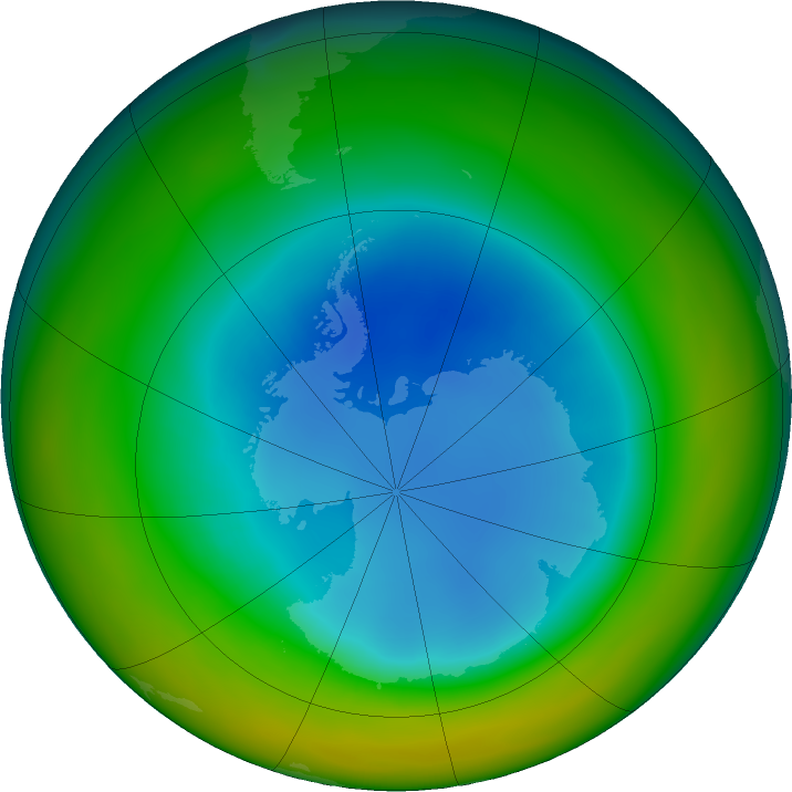 Antarctic ozone map for August 2017