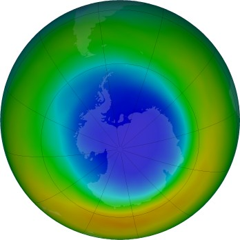 Antarctic ozone map for 2017-09