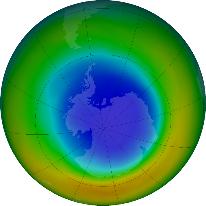 Antarctic ozone map for September 2017