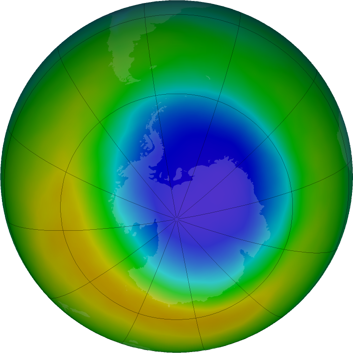 Antarctic ozone map for October 2017