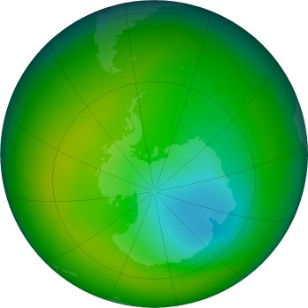 Antarctic ozone map for 2017-11