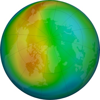 Antarctic ozone map for 2017-12