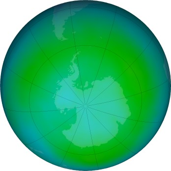 Antarctic ozone map for 2018-01