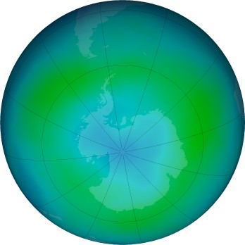 Antarctic ozone map for 2018-02
