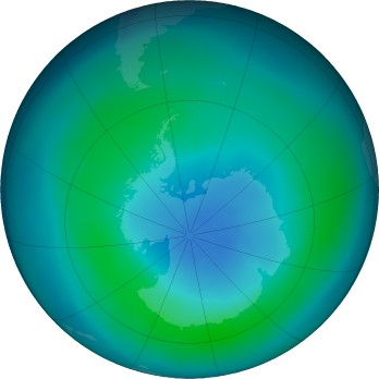 Antarctic ozone map for 2018-03