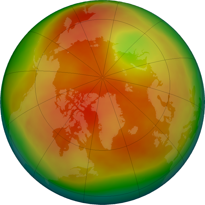 Arctic ozone map for March 2018