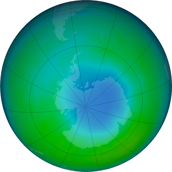 Antarctic ozone map for May 2018